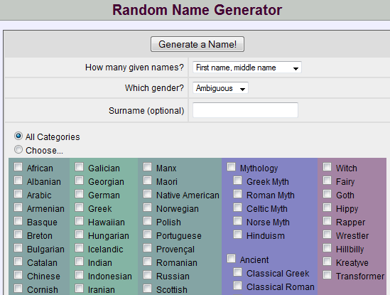 Nadine on Writing: Cool Name Generators--and more!