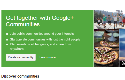 communities on google+.